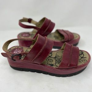 Fly London raspberry leather platform sandals